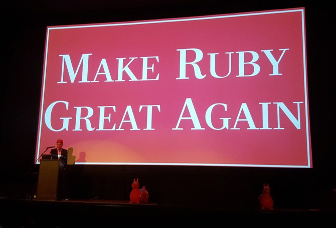 Searls on a stage in front of a slide that reads 'Make Ruby Great Again'