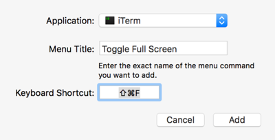 adding a shortcut for iTerm