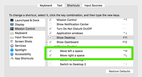 system shortcuts highlighting space switching